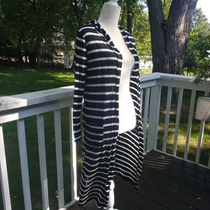Rue21 Black and White Striped Open Duster Cardigan